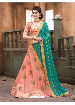 Peach Soft Tifi Silk Lehenga Choli