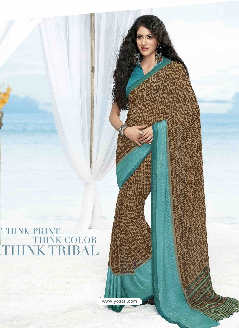 Sky Blue And Brown Print Work Saree