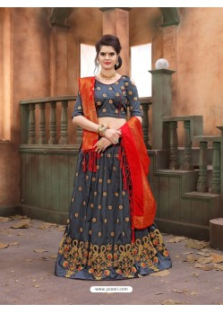 Grey Soft Tifi Silk Lehenga Choli
