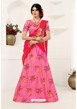 Pink Soft Tifi Silk Lehenga Choli