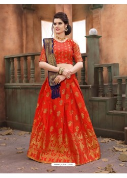 Orange Banarasi Silk Lehenga Choli