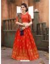 Orange Banarasi Silk Lehenga Choli