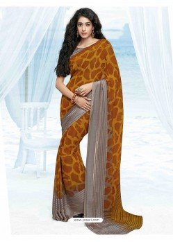 Mustard shade Print Work Saree