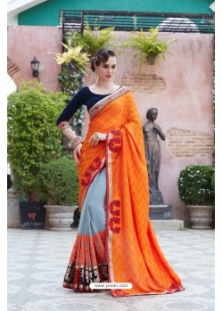 Orange Georgette Saree