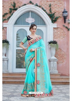 Aqua Blue Georgette Saree