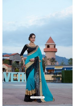Sky Blue Satin Silk Saree