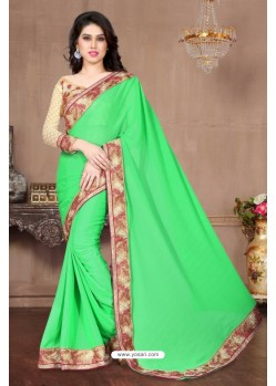 Attractive Green Chiffon Saree