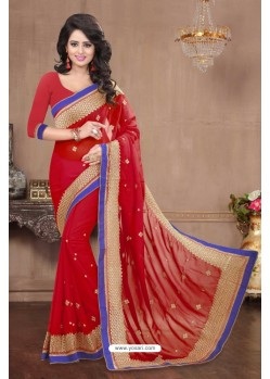 Nice Looking Red Chiffon Saree