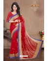 Nice Looking Red Chiffon Saree