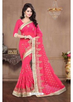 Pleasing Peach Georgette Saree