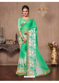 Heavenly Jade Green Chiffon Saree