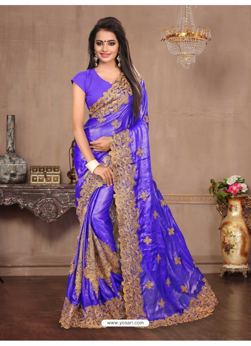 Graceful Royal Blue Chiffon Saree