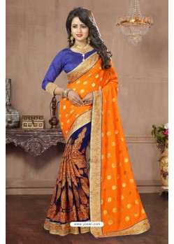 Enhanting Orange Georgette Saree