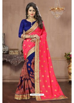 Stupendous Peach Georgette Saree