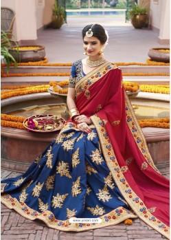 Desirable Navy Blue Heavy Silk Saree