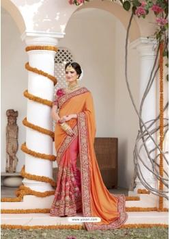 Genius Orange Heavy Silk Saree