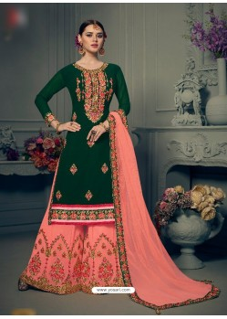 Dark Green Georgette Hand Work Suit