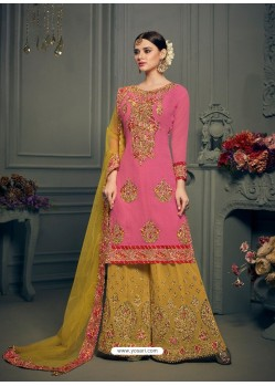 Light Pink Georgette Hand Work Suit