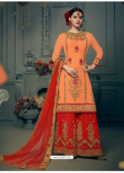 Orange Georgette Hand Work Suit