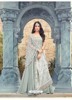 Silver Georgette Embroidered Floor Length Suit