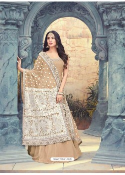 Beige Georgette Embroidered Floor Length Suit