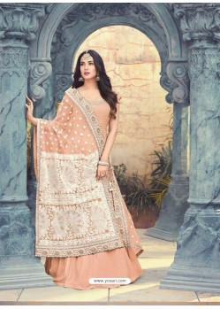 Peach Georgette Embroidered Floor Length Suit