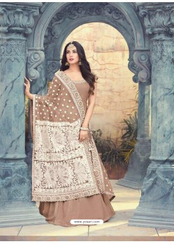 Camel Georgette Embroidered Floor Length Suit