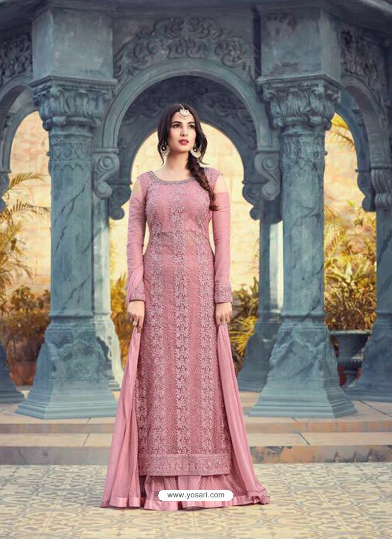 Light Pink Net Embroidered Suit
