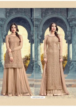 Beige Net Embroidered Suit