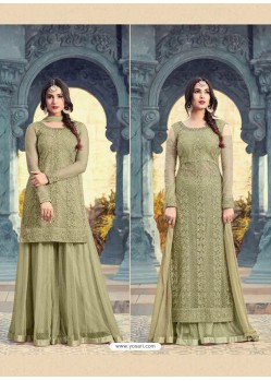 Olive Green Net Embroidered Suit