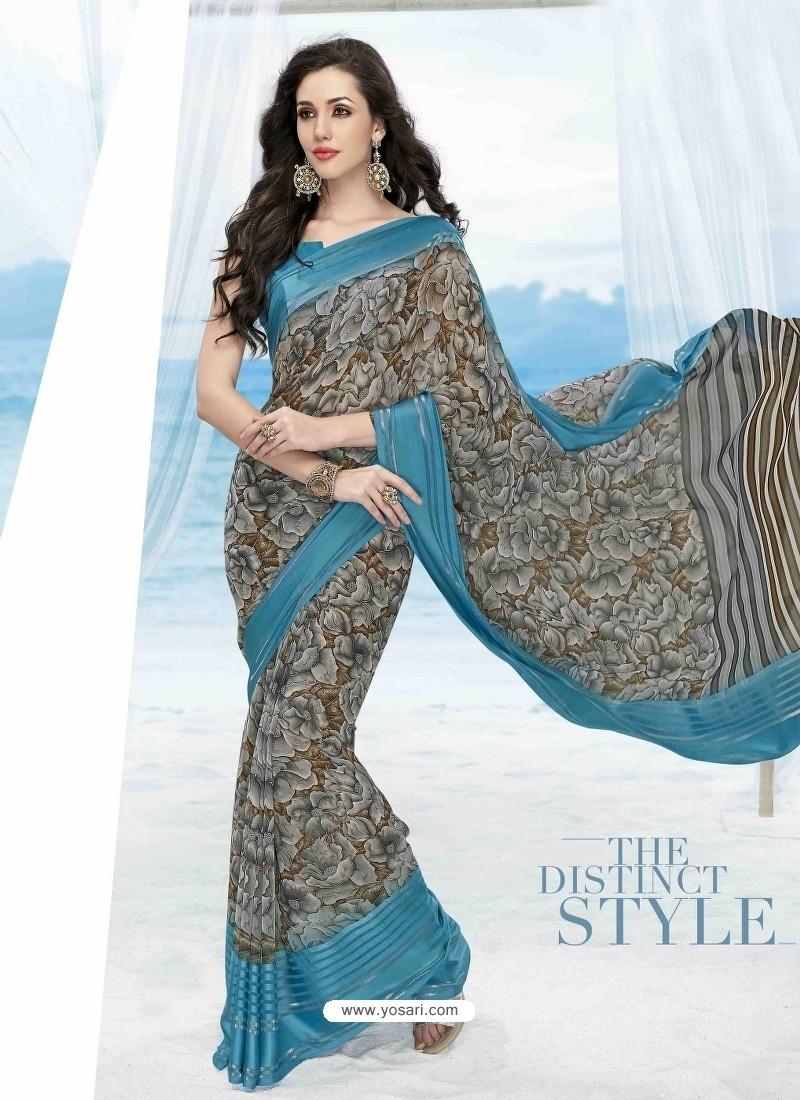 Sky Blue Print Work Saree