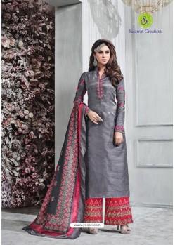 Grey Banarasi Silk Plazzo Suit