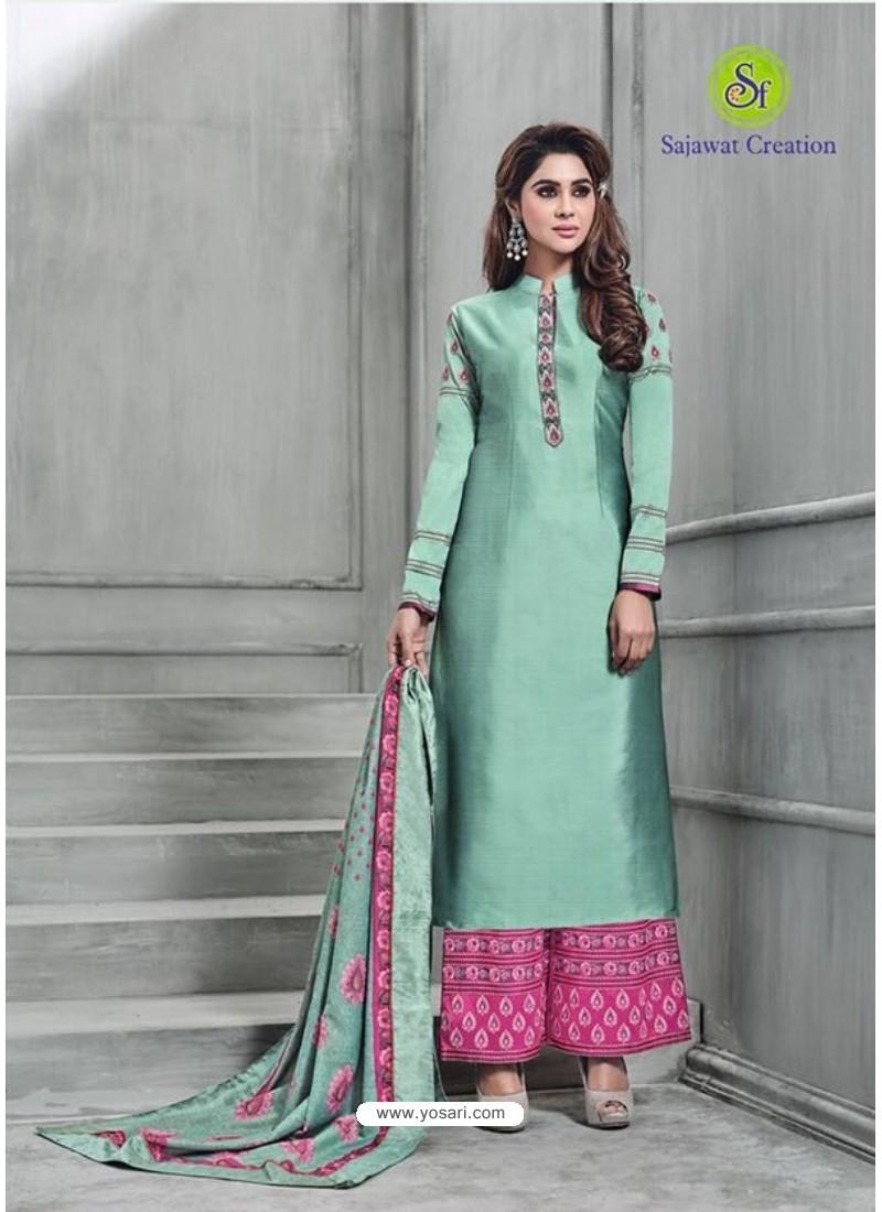 ebbfe4512d Buy Aqua Mint Banarasi Silk Plazzo Suit | Palazzo Salwar Suits