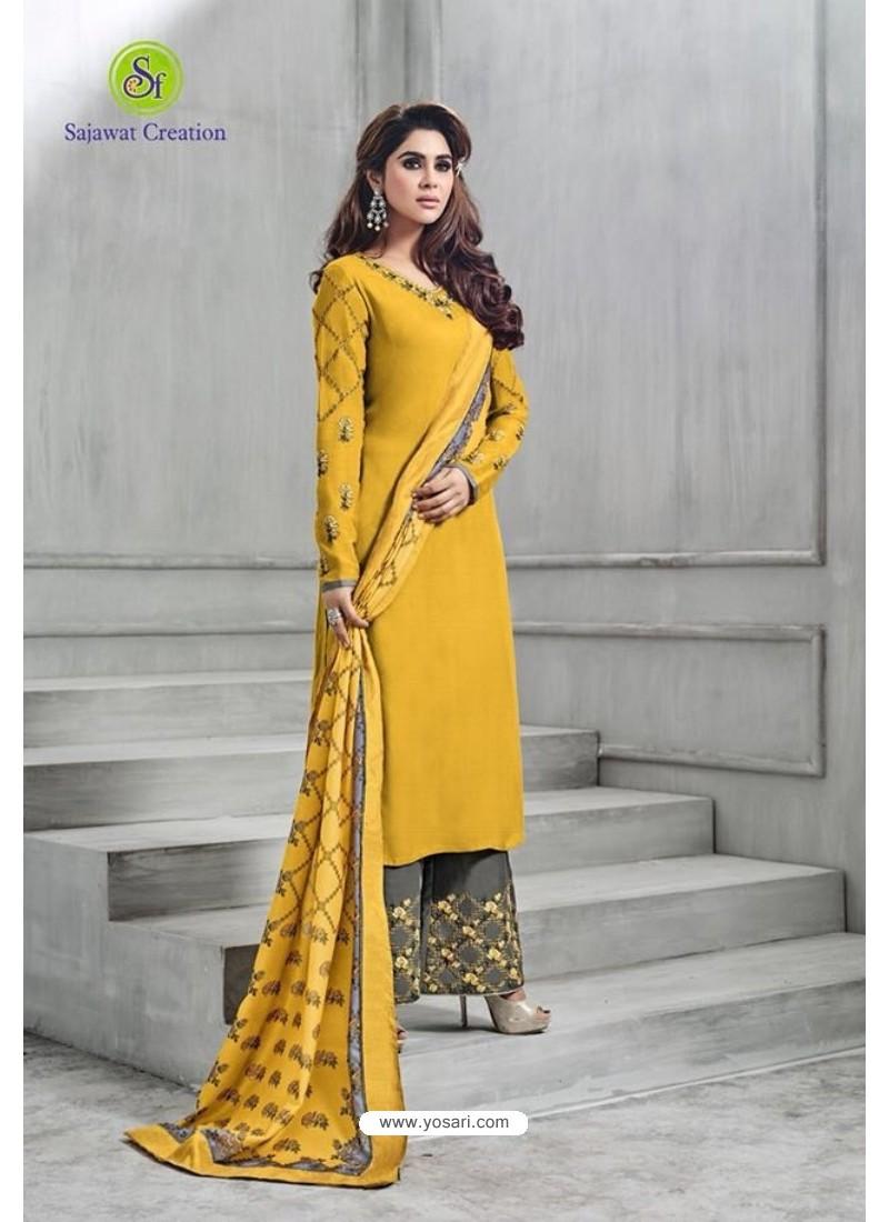 Yellow Banarasi Silk Plazzo Suit