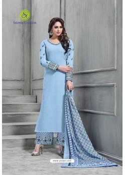 Blue Banarasi Silk Plazzo Suit