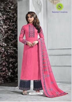 Dark Peach Banarasi Silk Plazzo Suit