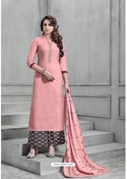 Peach Banarasi Silk Plazzo Suit