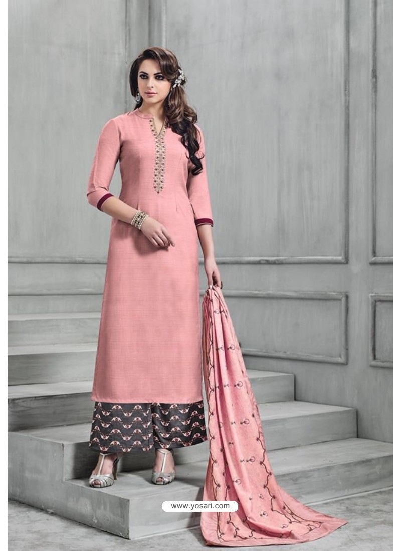 a1d4bbb911 Buy Peach Banarasi Silk Plazzo Suit | Palazzo Salwar Suits