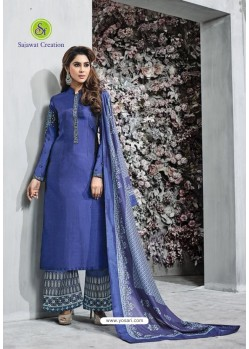 Dark Blue Banarasi Silk Plazzo Suit