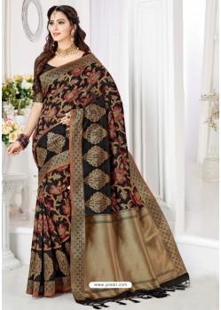 Decent Black Silk Blend Saree