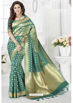 Amazing Teal Silk Blend Saree