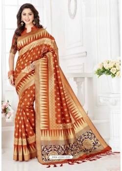 Glorious Rust Silk Blend Saree