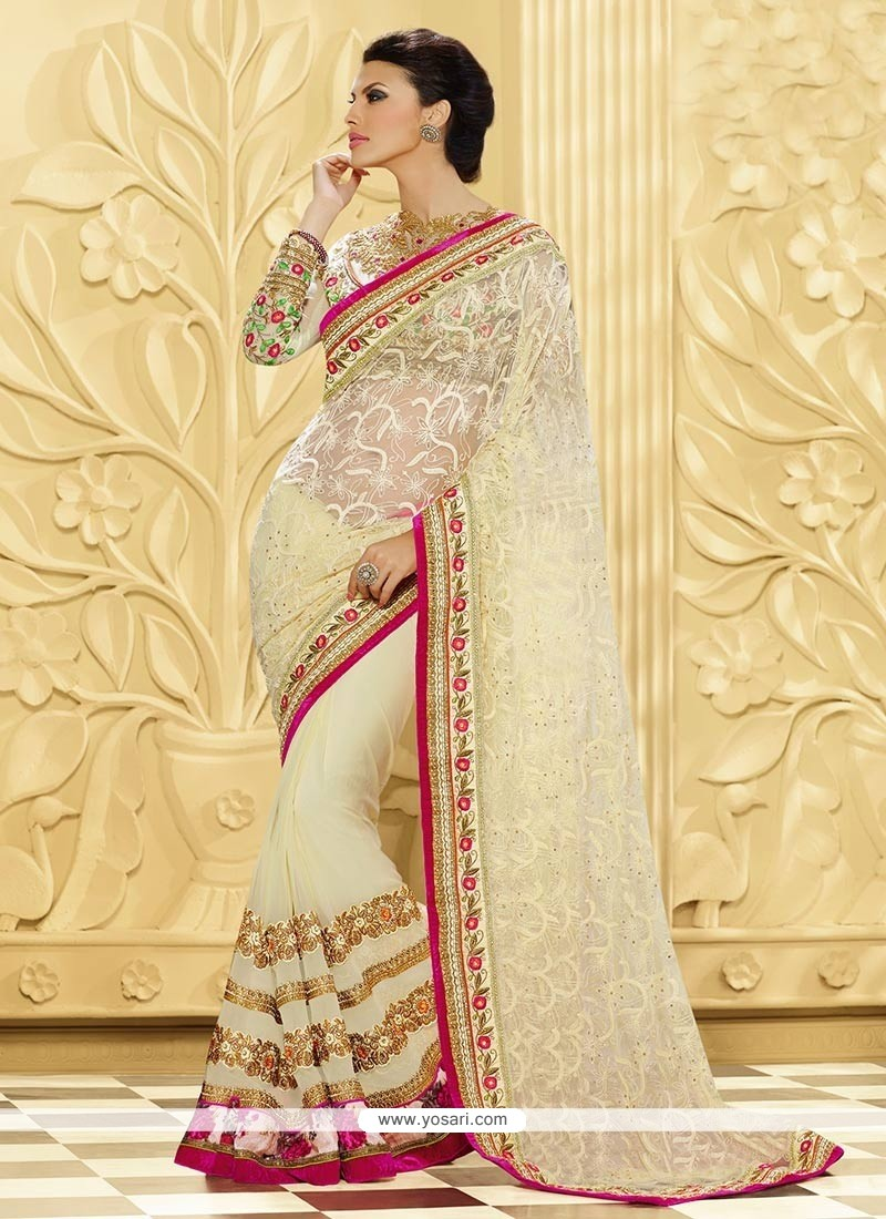 Cream Shaded Pure Georgette And Net Designer Saree