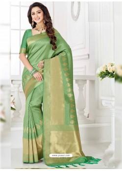 Lovely Green Silk Blend Saree
