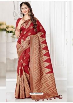 Latest Wine Silk Blend Saree