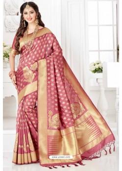 Dazzling Pink Silk Blend Saree