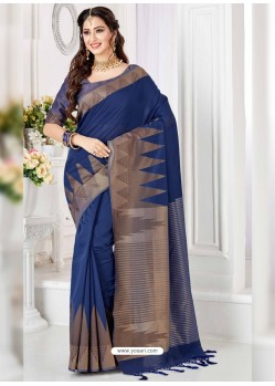 Magical Navy Blue Cotton Silk Saree