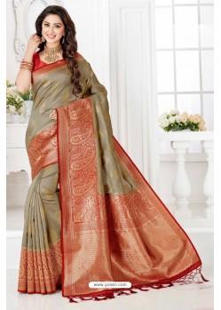 Eyeful Taupe Silk Blend Saree