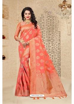 Gorgeous Peach Uppada Silk Saree