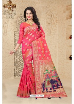 Magnificent Peach Uppada Silk Saree